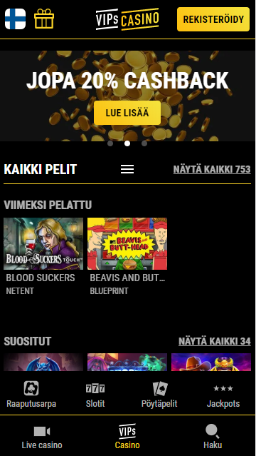 VIPscasino.com mobiilissa