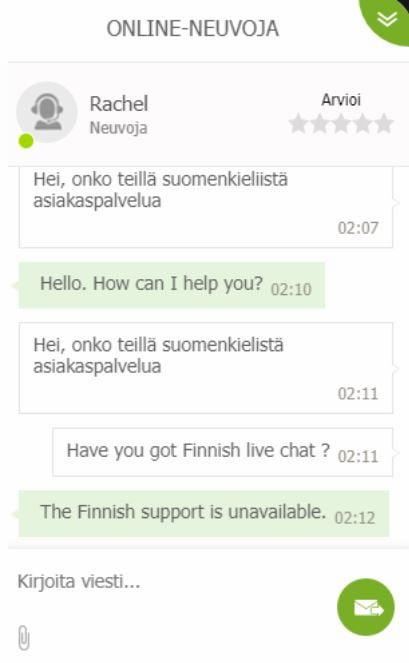 Asiakaspalvelu 1xSlots.com:lla vastasi yöllä nopeasti mutta suomenkielistä palvelua ei ollut tarjolla