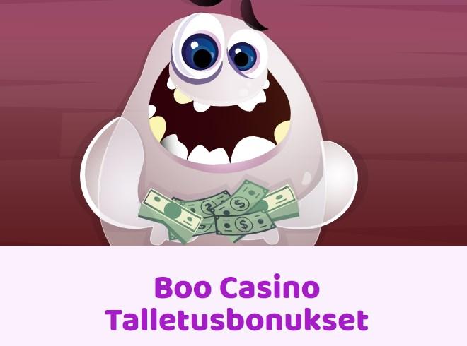 Boo Casino Talletusbonuksia on tarjolla myös ensitalletusbonusten päälle