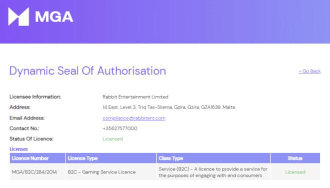Lapalingo.com pelilisenssi on MGA:n myöntämä