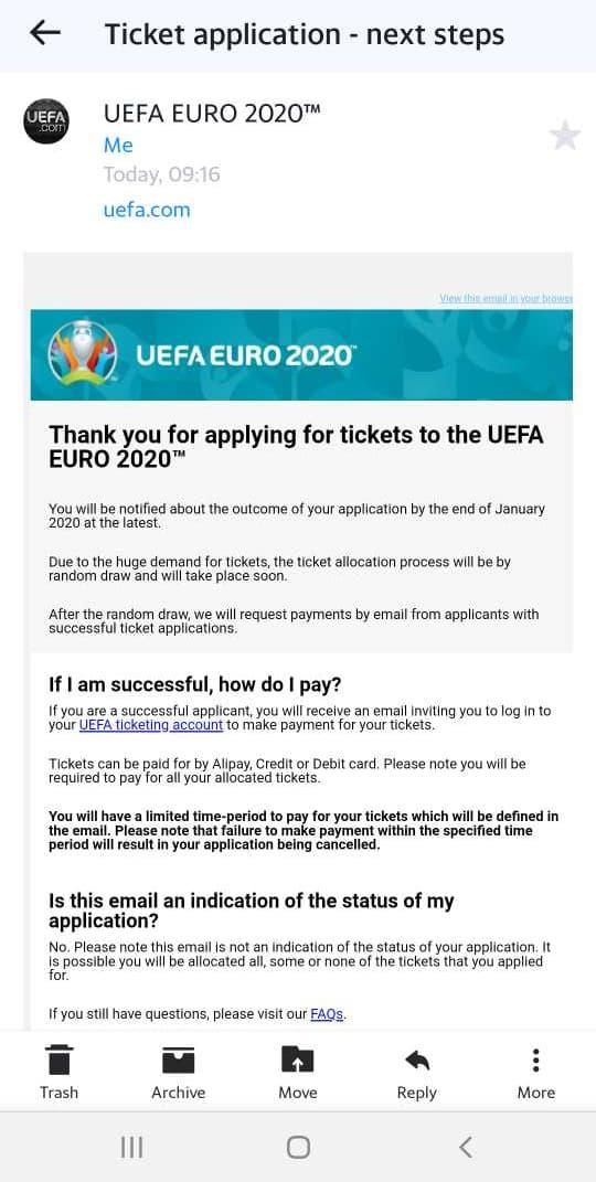 Saimme tämän viestin uefalta ennen lippujen ostamista