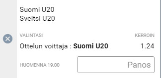 Suomi Sveitsi U20 vetokuponki