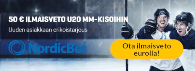 Nordic bet tarjoaa 50 euron ilmaisvedon uusille asiakkaille