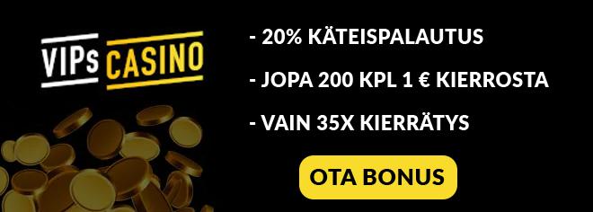 VIPsCasino.com talletusbonuksella jopa 200 kierrosta