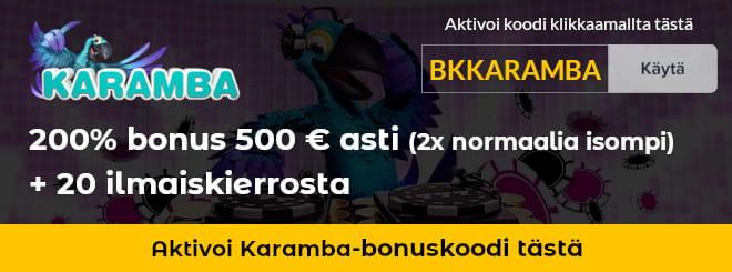 Käytä Karamba casinolle tarjoamamme bonuskoodi klikkaamalla kuvasta - saat kaksi kertaa paremman tervetuliaisbonuksen
