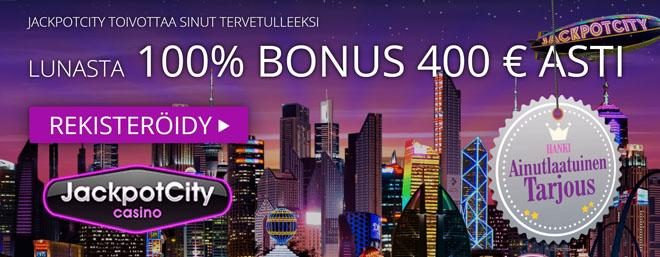 Jackpotcity tarjoaa uusille pelaajille neljä 100% bonusta 400 € asti