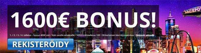 Uusille asiakkaille on tarjolla peräti neljä bonusta joiden arvo on yli 1 600 euroa