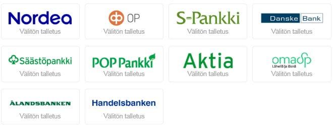 Talletukset ja nostot toimivat kaikilla suomalaisilla verkkopankeilla nopeasti