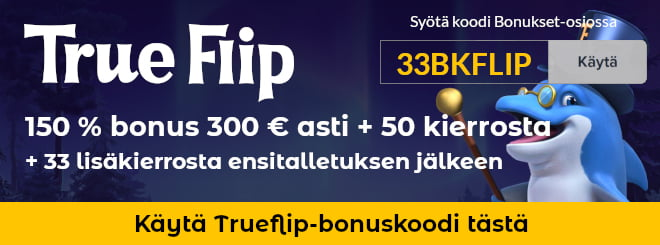TrueFlip bonuskoodi antaa 40 ilmaiskierrosta joita et normaalisti saisi ollenkaan.