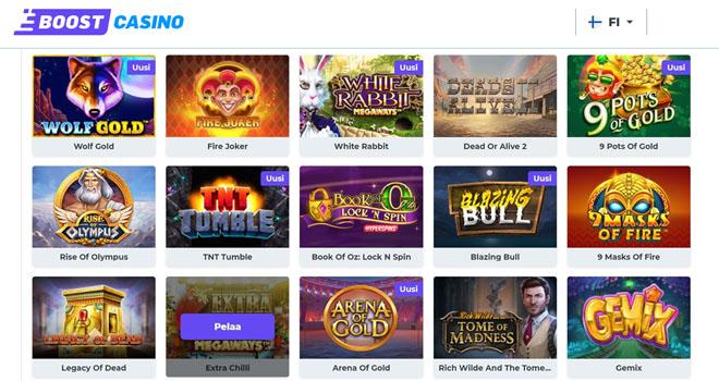 Boost Casinolla on satoja uniikkeja kolikkopelejä
