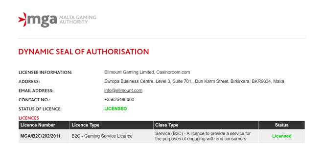 Casinoroomilla on hallussaan MGA:n lisenssi eli kaikki voitot ovat verovapaita