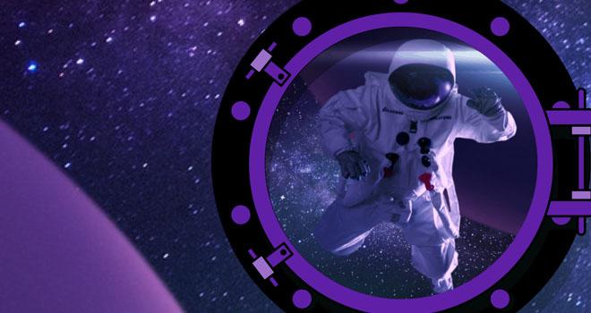 Galaksino astronautti leijailee avaruuden halki unelmoiden suurista voitoista.
