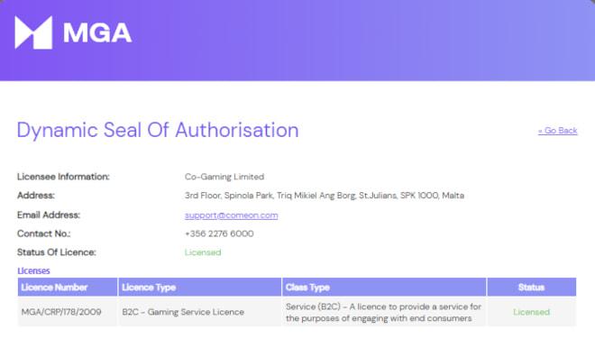 Galaksino kasinolla on MGA:n lisenssi.