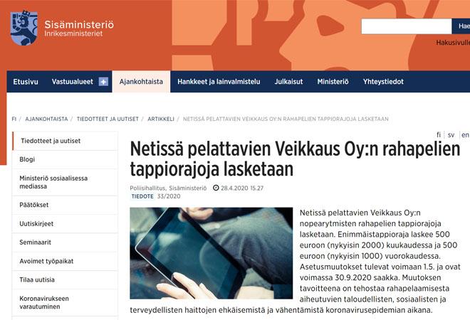 Sisäministeriön tiedote Veikkauksen uusista pelirajoista