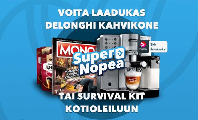 SuperNopea arpoo pelaajilleen vessapaperia, kahvinkeittimen sekä viaplay jäsenyyden
