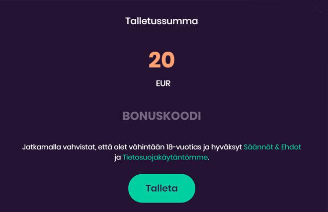 Sivustolla ei ole bonuskoodia
