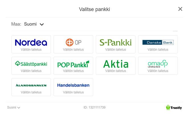Sivustolta löytyy 10 eri pankkia joiden avulla voit tallettaa pikana