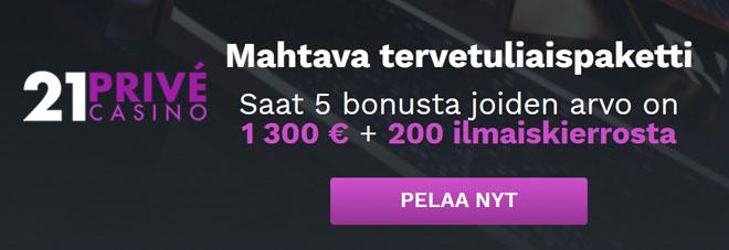 21 Prive Casino tarjoaa bonuksen viidelle ensimmäiselle talletuksellesi