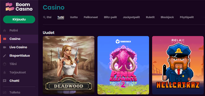 Boom Casinon aula suosii uusia pelejä