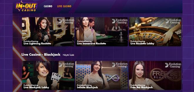 In and out casinon livepelit tarjoavat hyvää viihdykettä