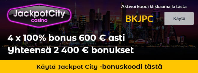 Jackpot City bonuskoodi antaa 800 € ylimääräistä bonusta