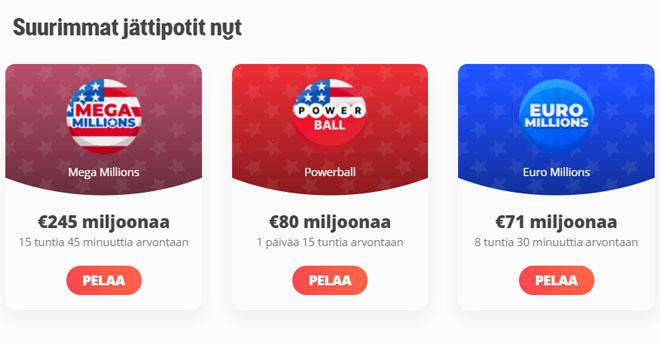 Megalotto lottovedonlyönnissä on paljon suuria potteja