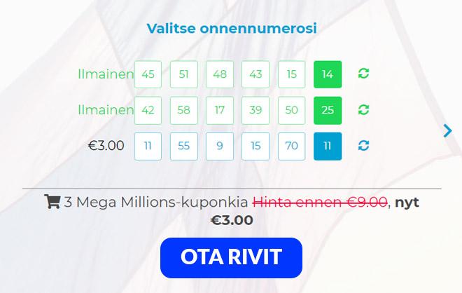 Multilotto tarjoaa 3 MegaMillions riviä yhden hinnalla