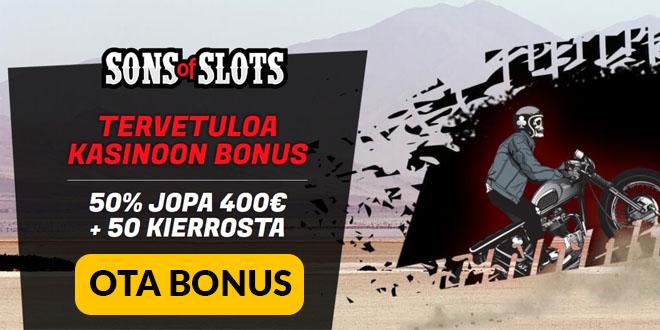 Sons of Slots kasinolla pelit voi aloittaa jopa 1 200 euron saldolla