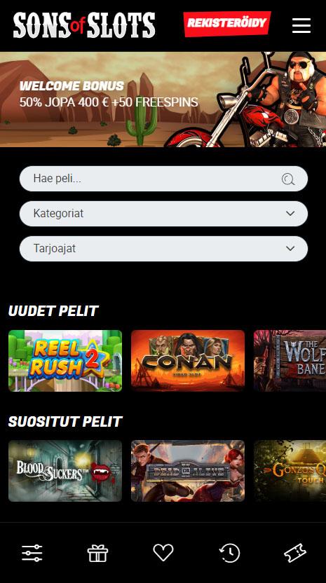 Sons of Slots toimii kaikilla Android ja iOS puhelimilla