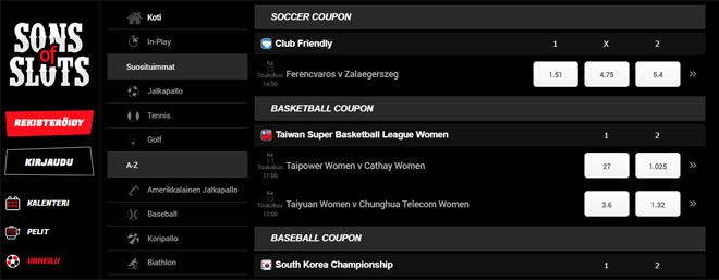 Tällä sivustolla voi myös lyödä vetoa esimerkiksi eurheilusta