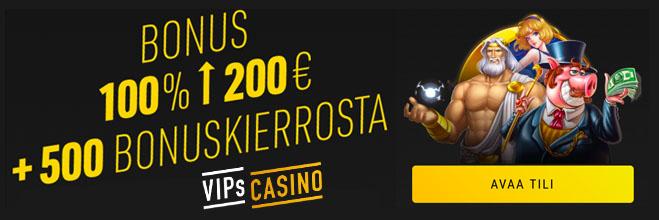 VIPsCasinon 21.5 päivittynyt tarjous antaa 500 kierrosta + 200 € bonuksen