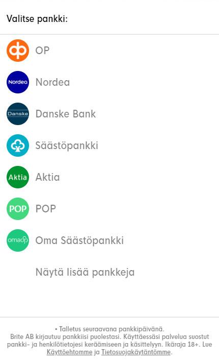 Brite tukee kaikkia suomalaisia pankkeja
