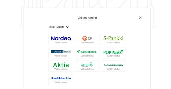Voit tehdä talletuksen pikana suomalaisista pankeista
