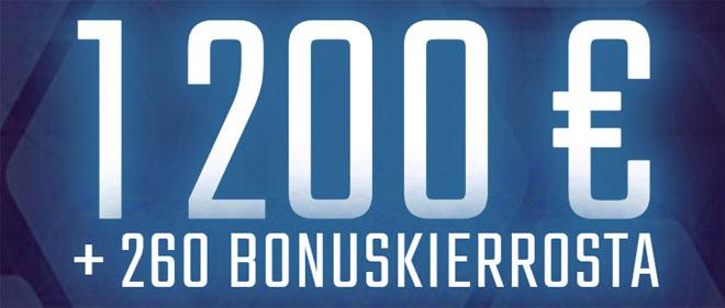 Yhteensä etuja on tarjolla 1 200 euron sekä 260 kierroksen verran