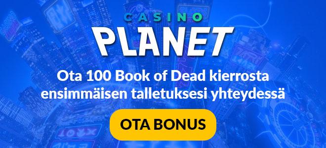 Uuden asiakkaan etuna voit lunastaa 100 kierrota Book of Dead -peliin