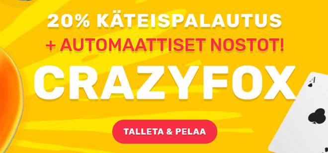 Lunasta 20% käteispalautusta joka päivä Crazy Fox kasinolta