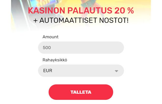 Rahan tallettaminen on nopeaa ja helppoa