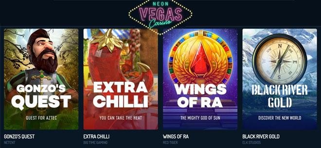 Neon Vegas Casinon aula on tehty erittäin yksinkertaiseksi pelien etsimistä varten