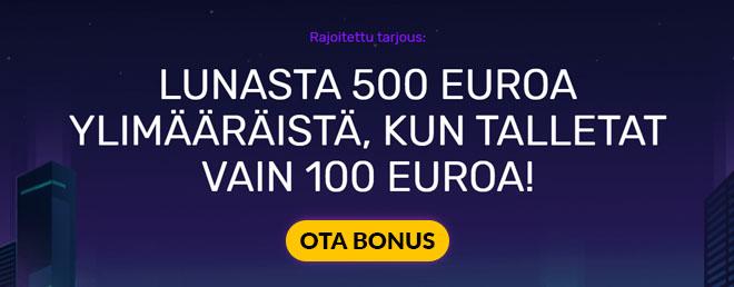 Uuden asiakkaan etuna Neon Vegas viisinkertaistaa talletuksesi 500 euroon asti