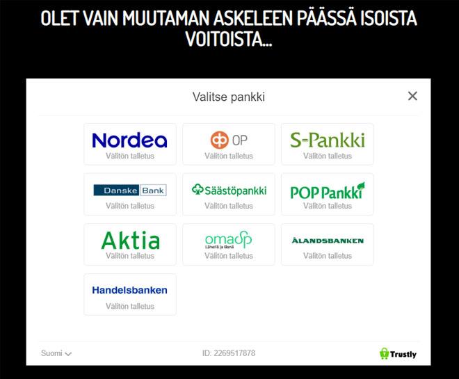 Neon Vegas Casino tukee kaikkia suosittuja suomalaisia pankkeja