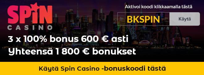 Spin Casino bonuskoodi antaa sinulle 3 100% bonusta 600 € asti