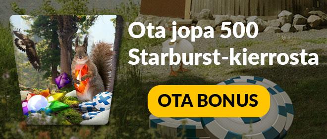 Uusin Suomiautomaatti bonus tarjoaa jopa 500 kierrosta Starburstiin