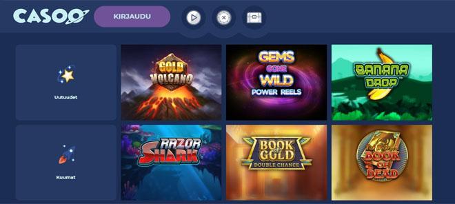 Sivuston aulasta löydät paljon suosittuja pelejä