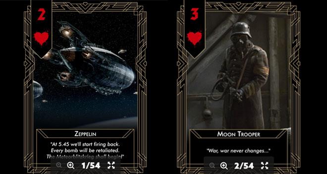 Esimerkkejä pelissä olevista keräilykorteista.