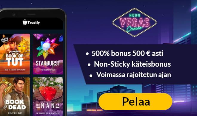 Saat Neon Vegas casinolta erinomaisen käteisbonuksen