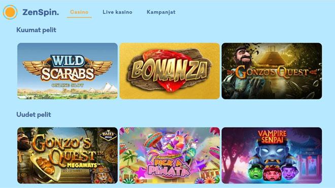 ZenSpin Casinolla on useita suosittuja pelejä