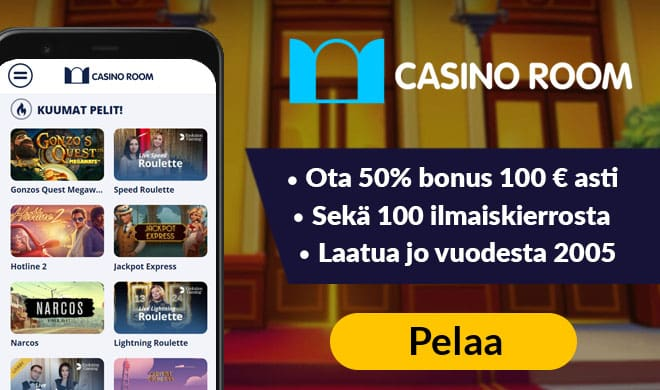 Casinoroomilla pelit voita aloittaa 50% bonuksella aina 100 euroon asti