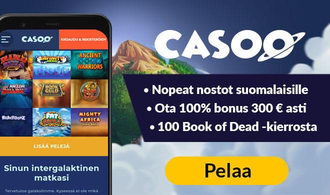 Casoo antaa sinulle jopa 300 euron bonuksen sekä 100 kierrosta book of dead peliin