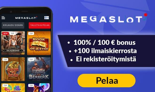 MegaSlot Casino tarjoaa uusille asiakkaille 100% bonuksen sekä 100 ilmaiskierrosta
