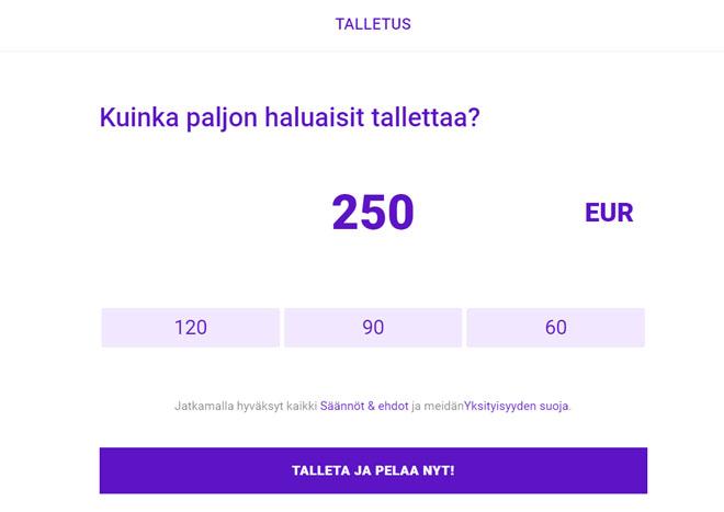 250 euron talletuksella saat 250 euron bonuksen